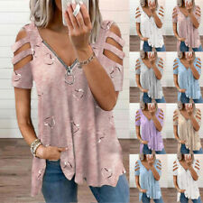 Plus Size Womens Summer Blouse T Shirt Heart Print Tops Ladies Cold Shoulder Tee