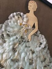 Vintage Ribbon Dolls Art Paper Doll Blue Flowers Shabby Girly Girl Ruffles Lace