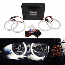 BMW E46 3 Series w/Non-HID Halogen Headlight White LED Angel Eyes Halo Rings Kit