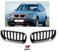 FOR BMW X3 E83 2003-2006 NEW FRONT BUMPER KIDNEY GRILLE CHROME/BLACK PAIR SET