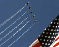 New 8x10 Photo: Thunderbirds in Formation over U.S. Flag