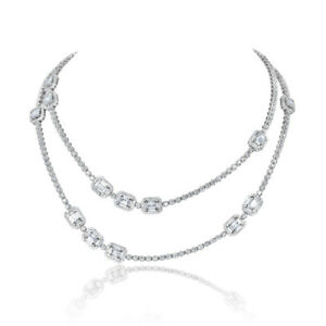 """10.23CT 14K White Gold 30"""" Inch 2 Row Double Layer Baguette Cut Diamond Necklace"""