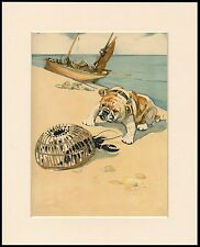 ENGLISH BULLDOG AT THE SEASIDE MEETS A LOBSTER DOG PRINT MOUNTED READY TO FRAME