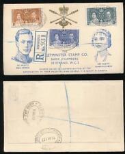 GOLD COAST 1937 CORONATION ILLUSTRATED WESTMINSTER ENVELOPE REGISTERED