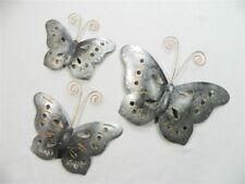 Butterfly Wall Art - Metal Butterflies, Butterfly - Silver - Set of 3
