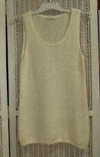 "NICOLE FARHI Ivory Sleeveless Long Jumper S 32"" Bust Super Soft Fluffy Cotton"