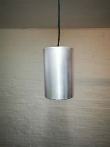 Vintage Philips Brushed Aluminium & Black Cylinder Hanging Light Shade