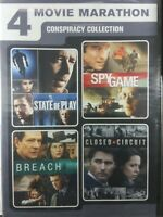 4 conspiracy movies State of Play, Spy Game, Breach, Closed Circuit, DVD set New