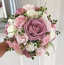 Brides Wedding Bouquet, pink shades/white , natural looking greenery