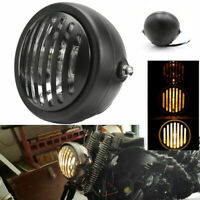 Retro Black Shell Grill Headlight Motorcycle Modified Headlight 12V Halogen Bulb