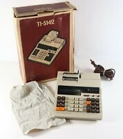 Vintage Texas Instruments TI-5142 Electronic Calculator w/ Box & Dust Cover