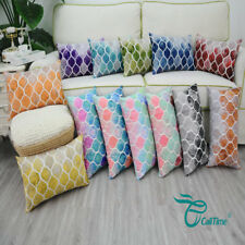 Cushion Covers Pillows Shells Painted Colorful Geometric Trellis Chain 30 X 50cm