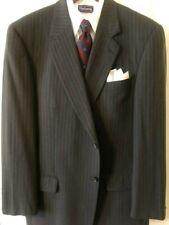 John W Nordstrom Men Wool Charcoal Pinstripe 2B Suit Mens 42-3 Long EUC TRAD Ivy