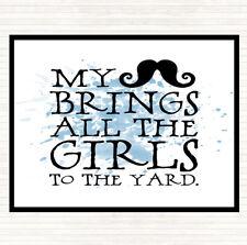 Blu Bianco Baffi porta le ragazze in giardino preventivo Tavola Tovaglietta Americana