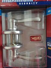Kwikset Maximum Security Nickel Finish Left Hand Lever Bed & Bath Door Handle...