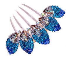 Luxury Sparkle Crystal Royal Blue Leaves Wedding Hair Accessories Comb HA165