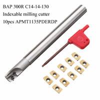 Steel BAP 300R C12-12-130 Holder + 10Pcs 12mm APMT1135PDERDP Blade + T8 Wrench