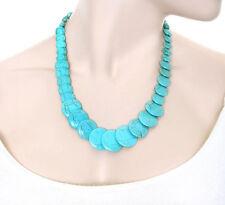 Turquoise Stone Flat Bead Circle Gemstone Necklace Jewelry Hippie Boho Bohemian