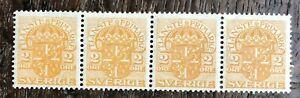 SWEDEN 1911/9  2 Ore Block of 4 MNH 2nd WMK  (P141)