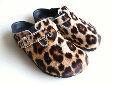 new BIRKENSTOCK Mules Slippers Clogs BOSTON Exquisite Leopard-Fur EU37 US6 UK4