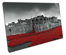TOWER OF LONDON RED POPPIES CANVAS WALL ART PICTURE LARGE 75 X 50 CM