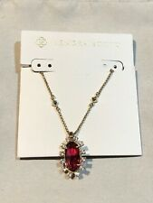 NWT Kendra Scott Brett $80 Pendant Necklace Brass Red Berry Glass