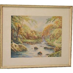 Art Deco Mountain Summer Trees Signed Gouache Watercolour Landscape Painting