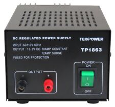 Used TekPower TP1863 12 Amp DC 13.8V Regulated Power Supply with Fuse Protection