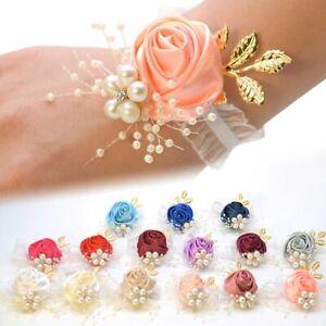 Rose Flower Simulation Fake Flower Corsage Bridesmaid Wrist Flower Bracelet