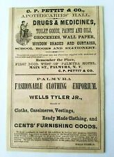 1867 New York Palmyra Pettit Apothecary Hall Drugs Quack Medicine Advertisement