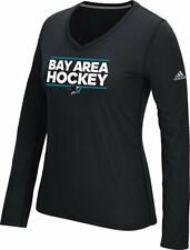 adidas Women's San Jose Sharks Black Performance V-Neck Long Sleeve Small New