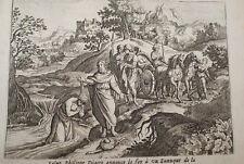 GRAVURE SUR CUIVRE EUNUQUE ST PHILIPPE -BIBLE 1670 LEMAISTRE DE SACY (B240)