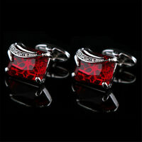 Luxury Square Red Crystal Cuff Links Silver Plated Mens Dress Shirts Cufflink