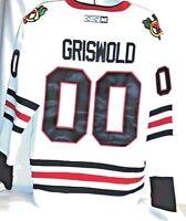 Griswold X-mas vacation Chicago Black Hawks CCM White 50 Large Men's Jersey