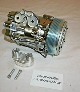 Chrome Mini AC Compressor Sanden SD-7 Style Serpentine Pulley With A/C Manifold