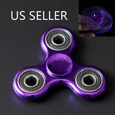 2PCS Highlight Hand Finger Spinner Fidget Tri-Spinner 3D EDC Focus Toy Purple
