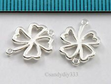 2x BRIGHT STERLING SILVER CLOVER LEAF LINK CONNECTOR SPACER BEAD 11.3mm #2671