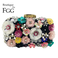 De FGG Socialite Women Flower Evening Bags Party Bridal Beaded Purse Crystal Clu