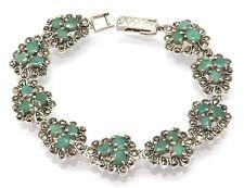 Smaragd  Markasit Armband 18 cm Smaragde   925 Silber  Sterlingsilber