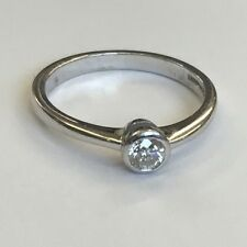 18ct Solid White Gold Solitaire Round Cut Diamond Ring Size M1/2 0.25ct