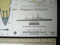 Lehrmittelinstitut Wilhelmshaven #1208 Cruiser KM Emden 1960s Paper Model Kit