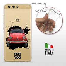Huawei P10 Plus TPU CASE COVER PROTETTIVA GEL TRASPARENTE VINTAGE Fiat 500 Crash