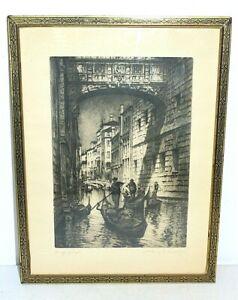 "Signed ""BRIDGE OF SIGHS"" Etching Print, ALBANY E. HOWARTH, Art Deco 12x16 Frame"