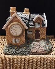 "Vintage Cottage House - 4"" Inch Pearl Quartz Clock Model - Vgc - Pre- Owned"