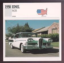 1958 Edsel Pacer Four-Door Hardtop Ford Car Photo Spec Sheet Info Stat CARD