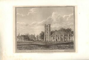 1826 LARGE PRINT ~ RICOT CHAPEL & REMAINS OF THE MANSION ~ OXFORDSHIRE