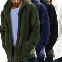 Men Fleece Fur Hoodie Coat Winter Hooded Jacket Outerwear Teddy Bear Fluffy Top