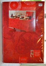 """Red Fabric Tablecloth New 60"""" x 84"""" rectangle, Damask, Christmas"""