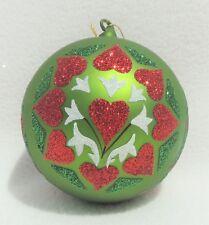 $65 Large Circle Of Love Glass Glitter Hd Ptd Heart Christmas Tree Ornament 4511
