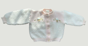 VTG 70s Marshalls baby girl pink cardigan sweater ducks 3/6 Months Made in Italy